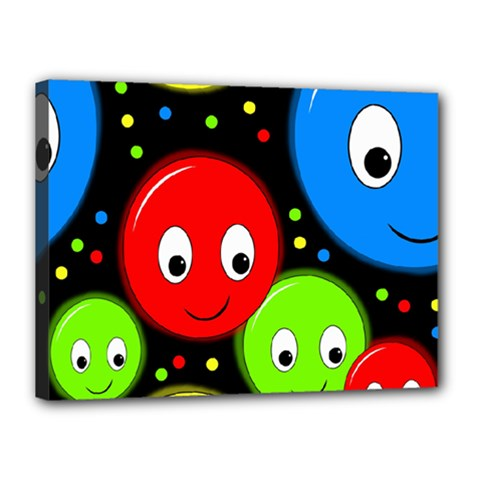 Smiley faces pattern Canvas 16  x 12