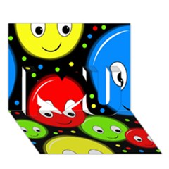 Smiley faces pattern I Love You 3D Greeting Card (7x5)