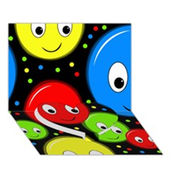Smiley faces pattern Heart Bottom 3D Greeting Card (7x5)