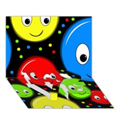 Smiley faces pattern LOVE Bottom 3D Greeting Card (7x5)