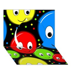 Smiley faces pattern Circle 3D Greeting Card (7x5)