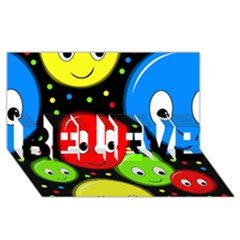 Smiley faces pattern BELIEVE 3D Greeting Card (8x4)