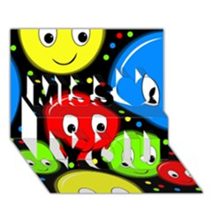 Smiley Faces Pattern Miss You 3d Greeting Card (7x5)