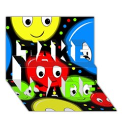 Smiley faces pattern TAKE CARE 3D Greeting Card (7x5)