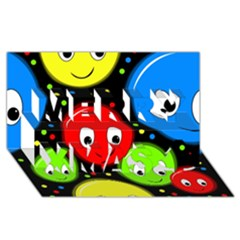 Smiley faces pattern Merry Xmas 3D Greeting Card (8x4)