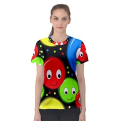 Smiley faces pattern Women s Sport Mesh Tee