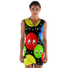 Smiley faces pattern Wrap Front Bodycon Dress
