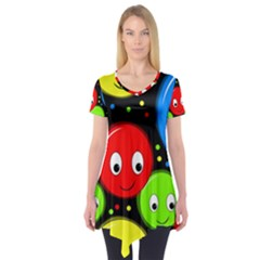 Smiley Faces Pattern Short Sleeve Tunic