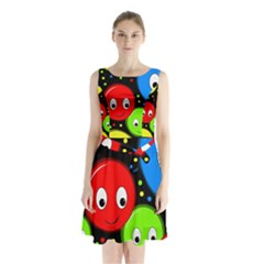 Smiley faces pattern Sleeveless Chiffon Waist Tie Dress