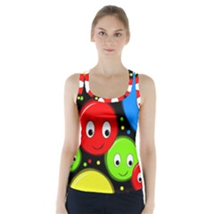Smiley faces pattern Racer Back Sports Top