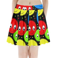 Smiley faces pattern Pleated Mini Skirt