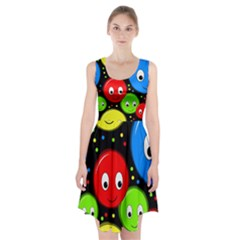 Smiley faces pattern Racerback Midi Dress