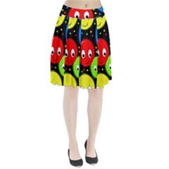Smiley Faces Pattern Pleated Skirt