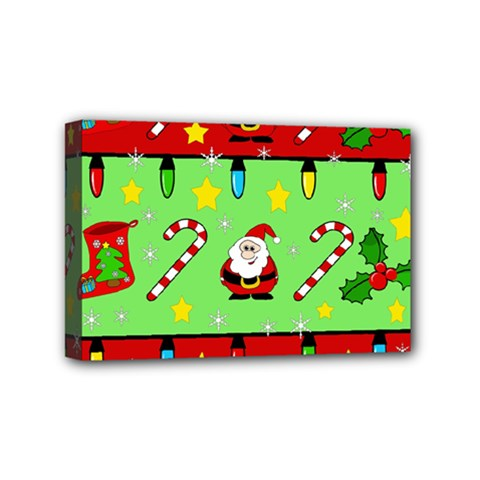 Christmas pattern - green and red Mini Canvas 6  x 4