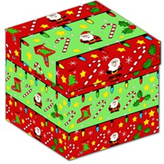 Christmas pattern - green and red Storage Stool 12