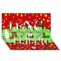 Christmas pattern - green and red Best Friends 3D Greeting Card (8x4)
