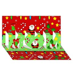 Christmas pattern - green and red MOM 3D Greeting Card (8x4)