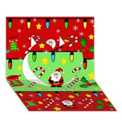 Christmas Pattern   Green And Red Heart 3d Greeting Card (7x5)