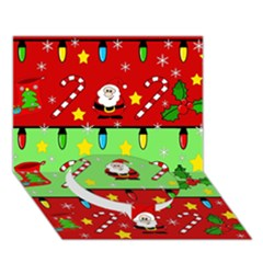 Christmas pattern - green and red Circle Bottom 3D Greeting Card (7x5)