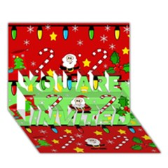 Christmas Pattern   Green And Red You Are Invited 3d Greeting Card (7x5)