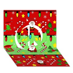 Christmas pattern - green and red Peace Sign 3D Greeting Card (7x5)