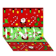 Christmas pattern - green and red HOPE 3D Greeting Card (7x5)