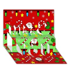 Christmas pattern - green and red Miss You 3D Greeting Card (7x5)