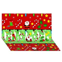 Christmas pattern - green and red ENGAGED 3D Greeting Card (8x4)