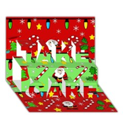 Christmas pattern - green and red TAKE CARE 3D Greeting Card (7x5)
