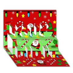 Christmas pattern - green and red You Did It 3D Greeting Card (7x5)