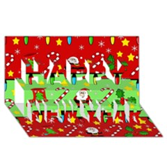 Christmas pattern - green and red Happy New Year 3D Greeting Card (8x4)