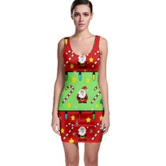 Christmas pattern - green and red Sleeveless Bodycon Dress