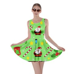 Christmas pattern - green and red Skater Dress