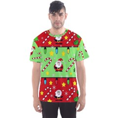 Christmas pattern - green and red Men s Sport Mesh Tee