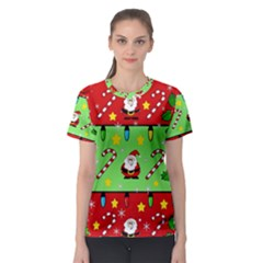 Christmas pattern - green and red Women s Sport Mesh Tee