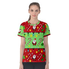 Christmas pattern - green and red Women s Cotton Tee