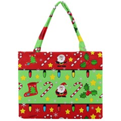Christmas pattern - green and red Mini Tote Bag
