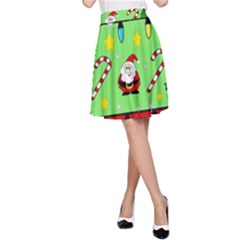 Christmas pattern - green and red A-Line Skirt