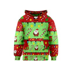 Christmas pattern - green and red Kids  Pullover Hoodie