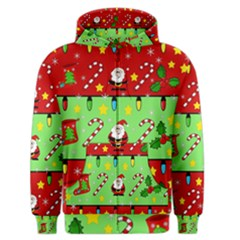 Christmas pattern - green and red Men s Zipper Hoodie