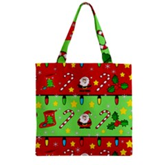 Christmas pattern - green and red Zipper Grocery Tote Bag