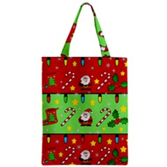 Christmas pattern - green and red Zipper Classic Tote Bag