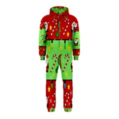 Christmas pattern - green and red Hooded Jumpsuit (Kids)