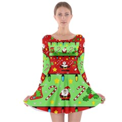 Christmas pattern - green and red Long Sleeve Skater Dress