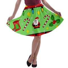 Christmas pattern - green and red A-line Skater Skirt