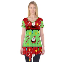 Christmas pattern - green and red Short Sleeve Tunic