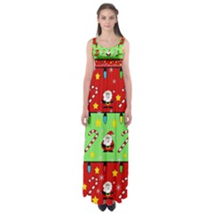 Christmas pattern - green and red Empire Waist Maxi Dress