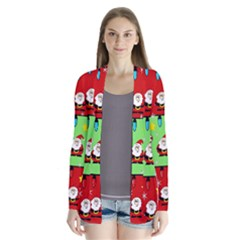 Christmas Pattern   Green And Red Drape Collar Cardigan