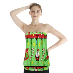 Christmas pattern - green and red Strapless Top