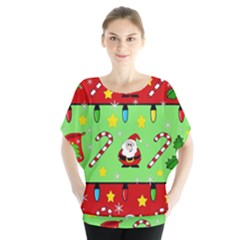Christmas Pattern   Green And Red Blouse